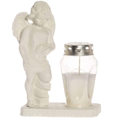 Hautakynttilä jalustalla ja enkelillä valkoinen