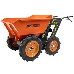 Minidumpperipyörillä on ketterä maansiirtokone rakennustyömaalle, maatilalleja puutarhaan