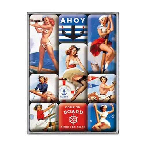 Magneettisetti Pin Up Ahoy Sailor