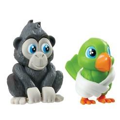 Simpanssi ja papukaija eläinhahmot Vet Squad
