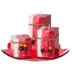 Tuoksupöytäkynttilä lahjapakkaus 4-osainen punainen
