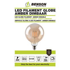 LED GLOBE FILAMENT G125 4W E 27 AMBER DIMABLE
